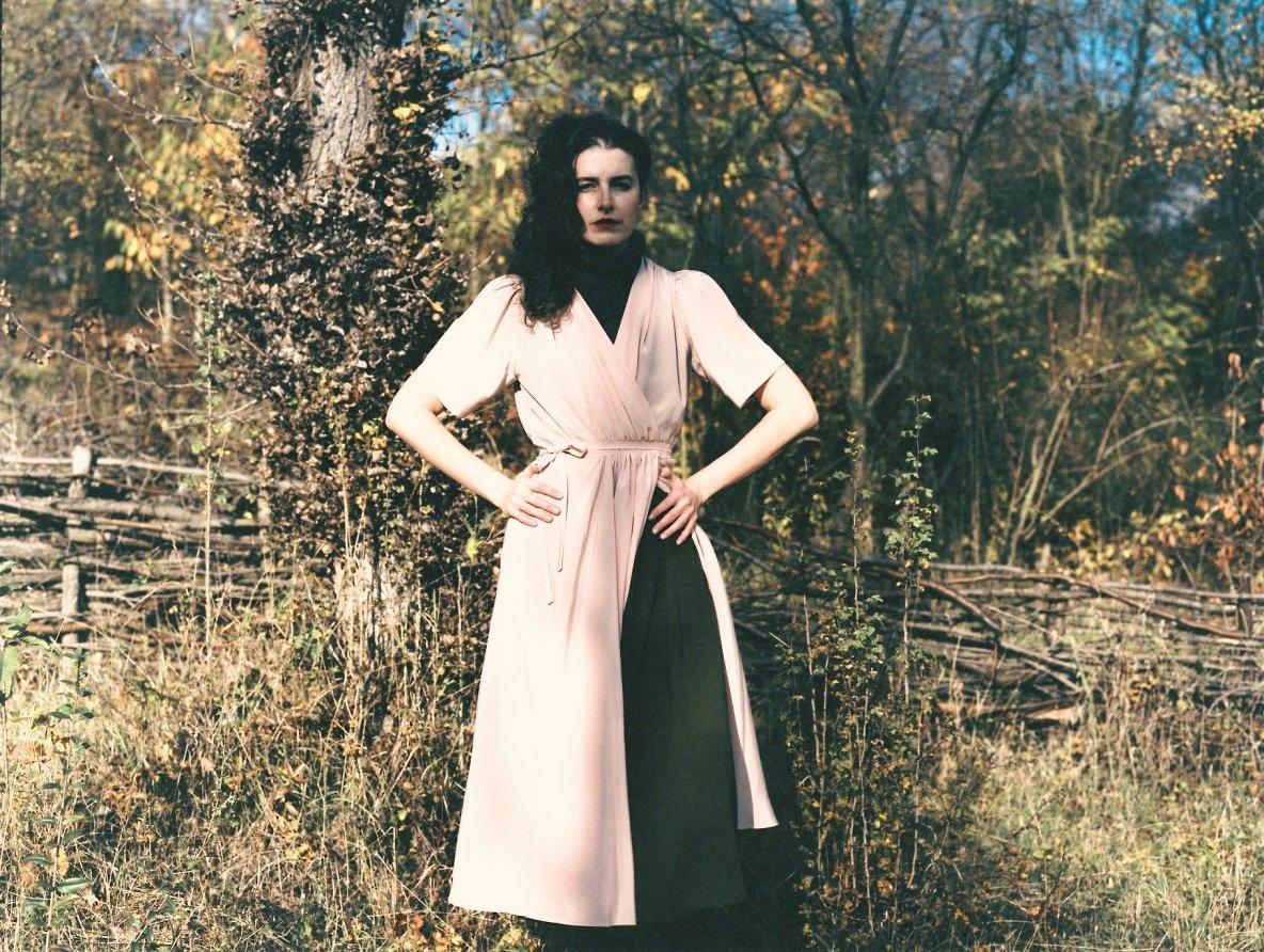 hedvábné růžové zavinovací šaty Hagar